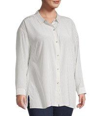 eileen fisher women's plus silk pinstriped shirt - ivory black - size 2x (18-20)