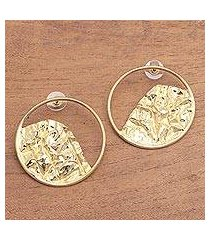 gold plated stainless steel drop earrings, 'curved waves' (indonesia)
