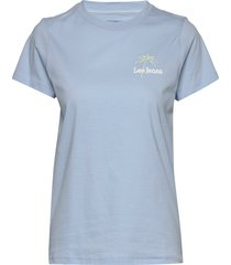 regular crew neck te t-shirts & tops short-sleeved blå lee jeans