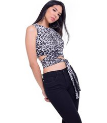 crop top animal print gris jaspe