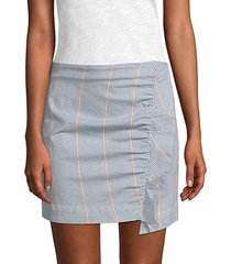 jane ruffled striped mini skirt
