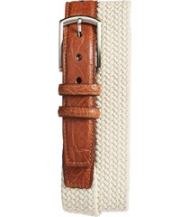 men's big & tall torino woven cotton belt, size 46 - cream beige