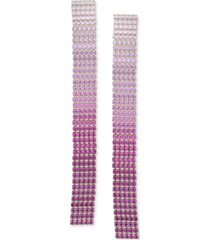 guess silver-tone ombre rhinestone linear earrings