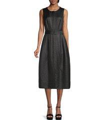 akris punto women's belted midi dress - black - size 8