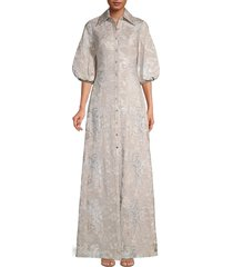 theia women's metallic puff-sleeve gown - rose silver - size 2