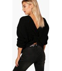 crop twist sweater, black