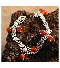 carnelian charm bracelet, 'ginger honey' (peru)