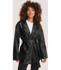 na-kd trend tied waist pu jacket - black