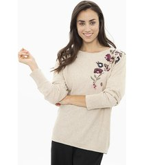 sweater beige  ted bodin bordado