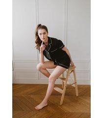 czarna klasyczna piżama krótka