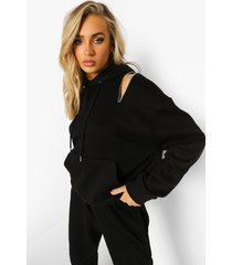hoodie met rits en schoudervulling, black