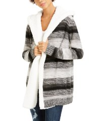 crave fame juniors' sherpa trim cardigan