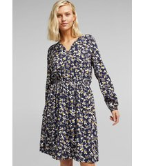 vestido midi estampado azul marino esprit