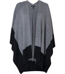 poncho rosa chá olimpia 1 tricot cinza feminino (black with grey, un)