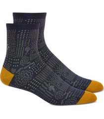 sun + stone men's blue geo patchwork socks