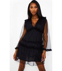 dobby swing jurk met franjes en laagjes, black