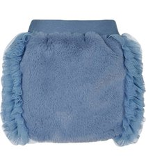 lapin house faux fur fitted skirt - blue