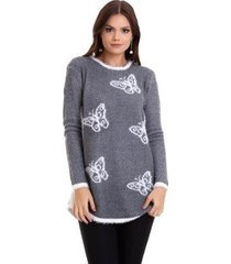 suéter kinara tricot borboleta feminino