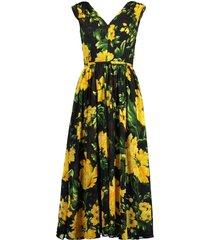 v-neck floral print a-line dress