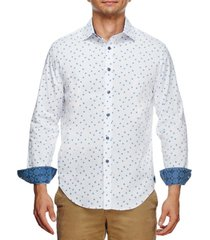 tallia men's slim fit flower geo print long sleeve shirt and a free face mask
