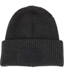 dondup dark grey wool ribbed hat