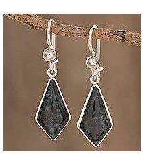 dark green jade dangle earrings, 'jungle pyramids' (guatemala)