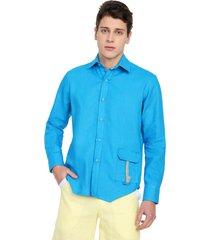 camisa masculina azul lino 100% natural osop mansion