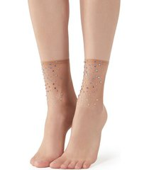 calzedonia fancy socks with appliqué rhinestone details woman blue size tu