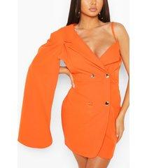 double breasted cape sleeve blazer dress, orange
