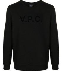 a.p.c. logo-print crew neck sweatshirt - black