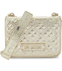 love moschino women's faux leather quilted shoulder bag - gold