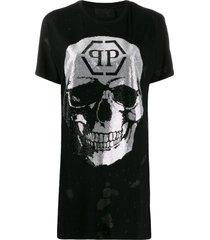 philipp plein destroyed skull t-shirt - black