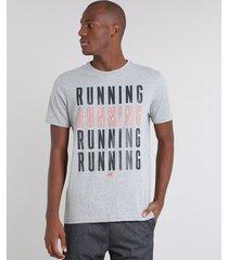 "camiseta masculina esporte ace ""root basket"" manga curta gola careca cinza mescla"