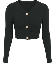 button up ruched ribbed cropped cardigan