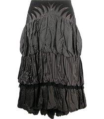 a.n.g.e.l.o. vintage cult 1990s gathered panel midi skirt - grey