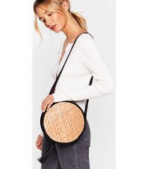 womens want wood you mind woven crossbody bag - black