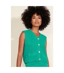 colete de tricô feminino mindset com botões decote v verde
