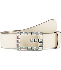 women's gucci madelyn crystal g belt, size 70 - m.white/ crystal ab