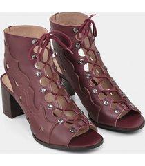 bota ankle boot western couro bordo red wine - lez a lez