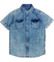 dżinsowa koszula z drobnym wzorem
