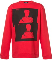 raf simons long sleeved photographic pullover - red