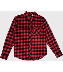 camisa mormaii manga larga escocés rojo - calce regular