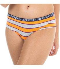 calcinha boy short laranja capricho college - 520.024 capricho lingerie boy short multicolorido