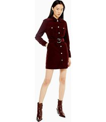 considered burgundy corduroy belted shirt dress with recycled cotton - wine