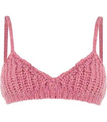 alanui v-neck knitted crop top - pink
