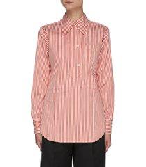 stripe half placket cotton silk blend shirt