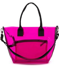 pinko kids bolsa shopper em pvc - rosa