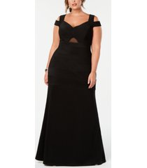 emerald sundae trendy plus size cold-shoulder a-line dress