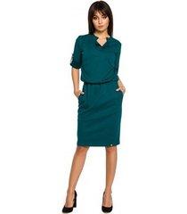 korte jurk be b056 gebreide jurk in hemdmodel - groen