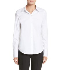 lafayette 148 new york linley stretch cotton blouse, size xx-large in white at nordstrom